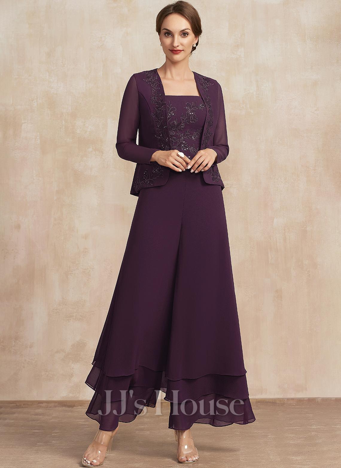 Overall / Pantsuit Rechteckiger Ausschnitt Knöchellang Chiffon Spitze Kleid für die Brautmutter mit Pailletten