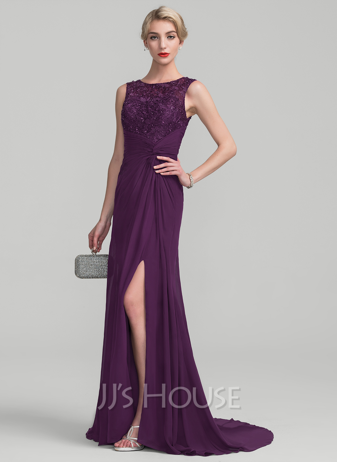 Scoop Neck Sweep Train Chiffon Lace Mother of the Bride Dress With Ruffle Beading Sequins Split Front