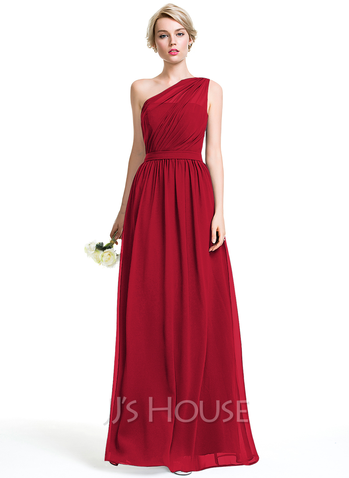 A lineprincess one shoulder floor length chiffon bridesmaid dress a lineprincess one shoulder floor length chiffon bridesmaid dress with ruffle loading zoom ombrellifo Image collections