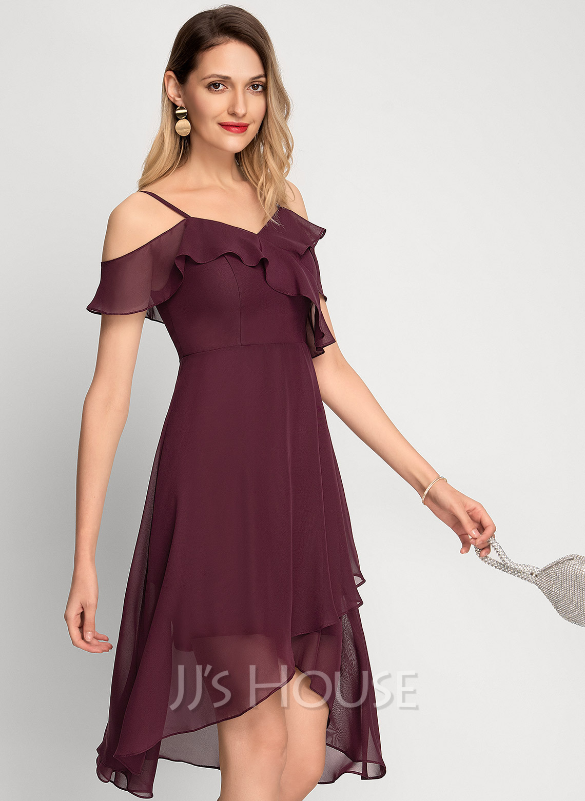 Off the Shoulder Asymmetrical Chiffon Cocktail Dress