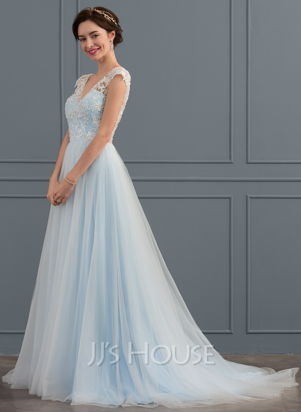 17fa2dc8129 Ball-Gown V-neck Sweep Train Tulle Wedding Dress With Beading Appliques  Lace Sequins. Loading zoom
