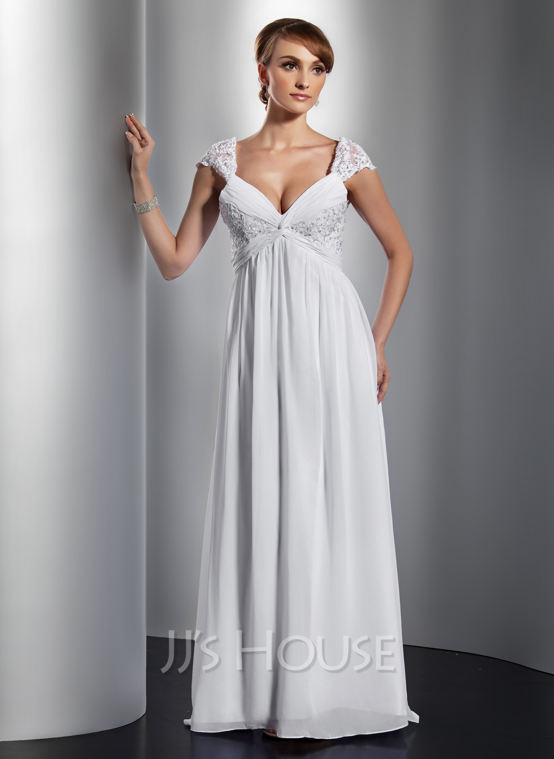 A-Line/Princess V-neck Sweep Train Chiffon Holiday Dress With Ruffle Lace Beading