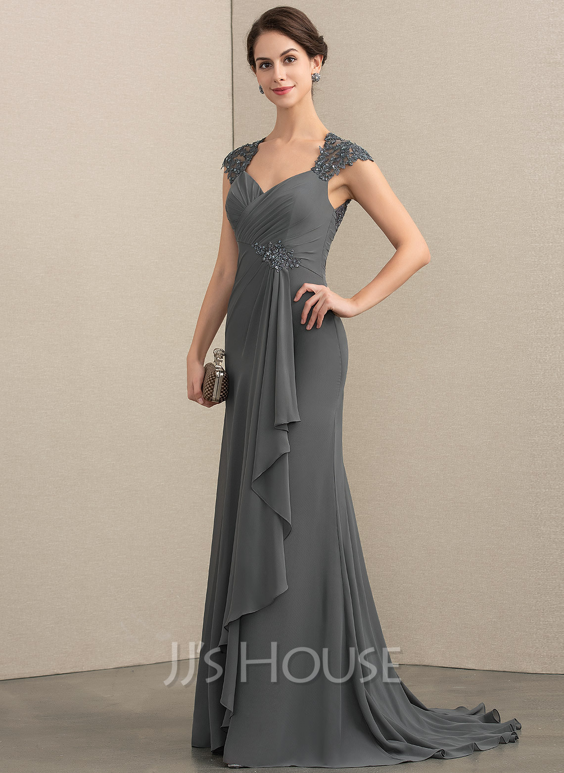Sweetheart Sweep Train Chiffon Lace Mother of the Bride Dress With Beading Sequins