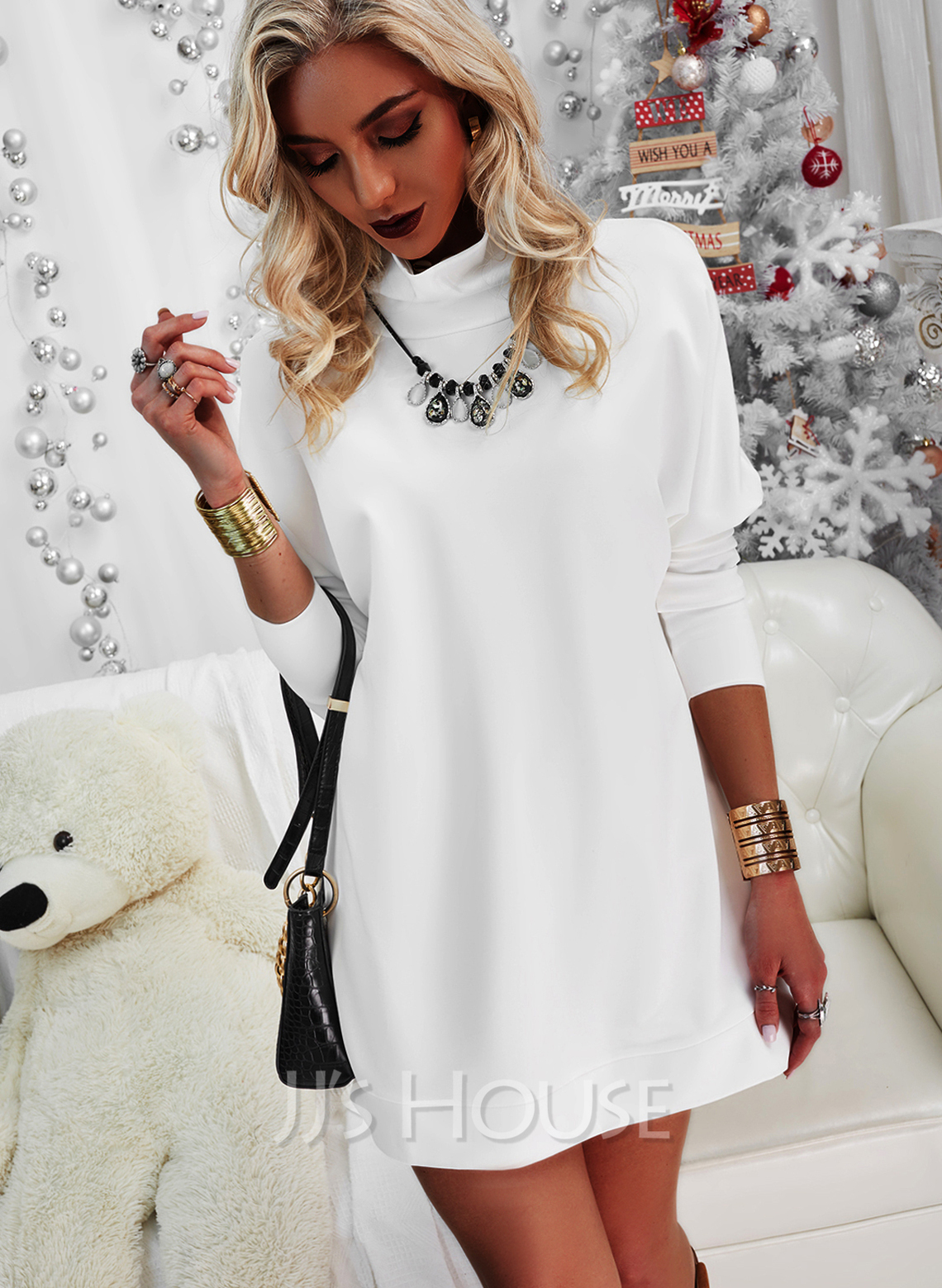 Solid Shift High Neck Long Sleeves Midi Casual Little Black Tunic Dresses