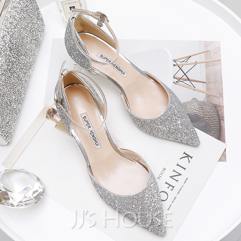 7dae983f37f Women s Sparkling Glitter Kitten Heel Closed Toe Pumps With Sparkling  Glitter. Loading zoom