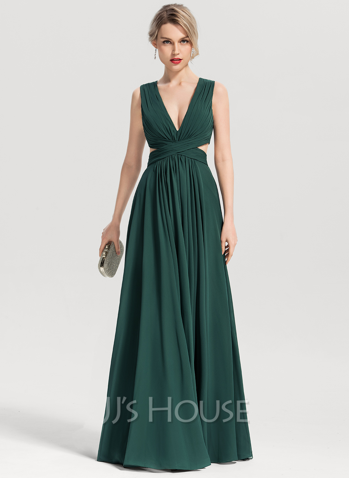 887f10b19ef A-Line Princess V-neck Floor-Length Chiffon Evening Dress (017153657 ...