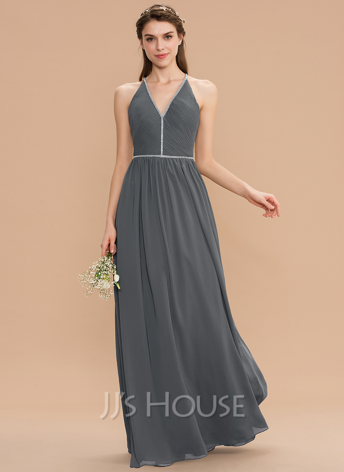 V-neck Floor-Length Chiffon Bridesmaid Dress With Ruffle Beading