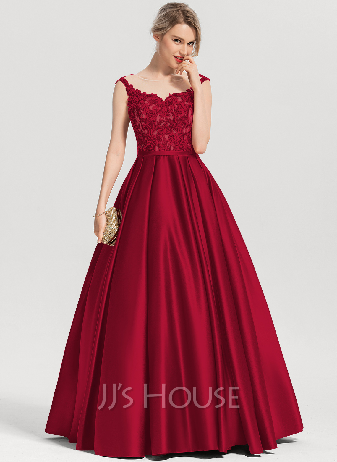 6fac0ae45ac2 Ball-Gown Scoop Neck Floor-Length Satin Evening Dress With Sequins. Loading  zoom