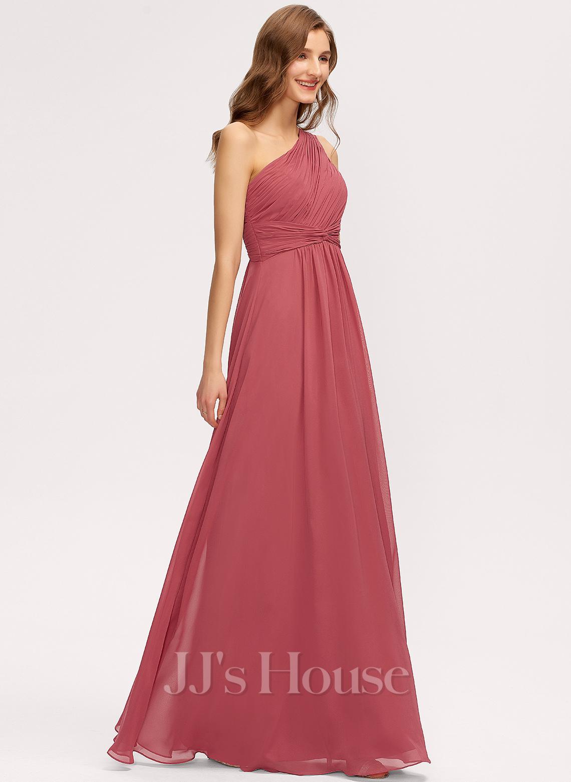 One-Shoulder Floor-Length Chiffon Bridesmaid Dress With Ruffle