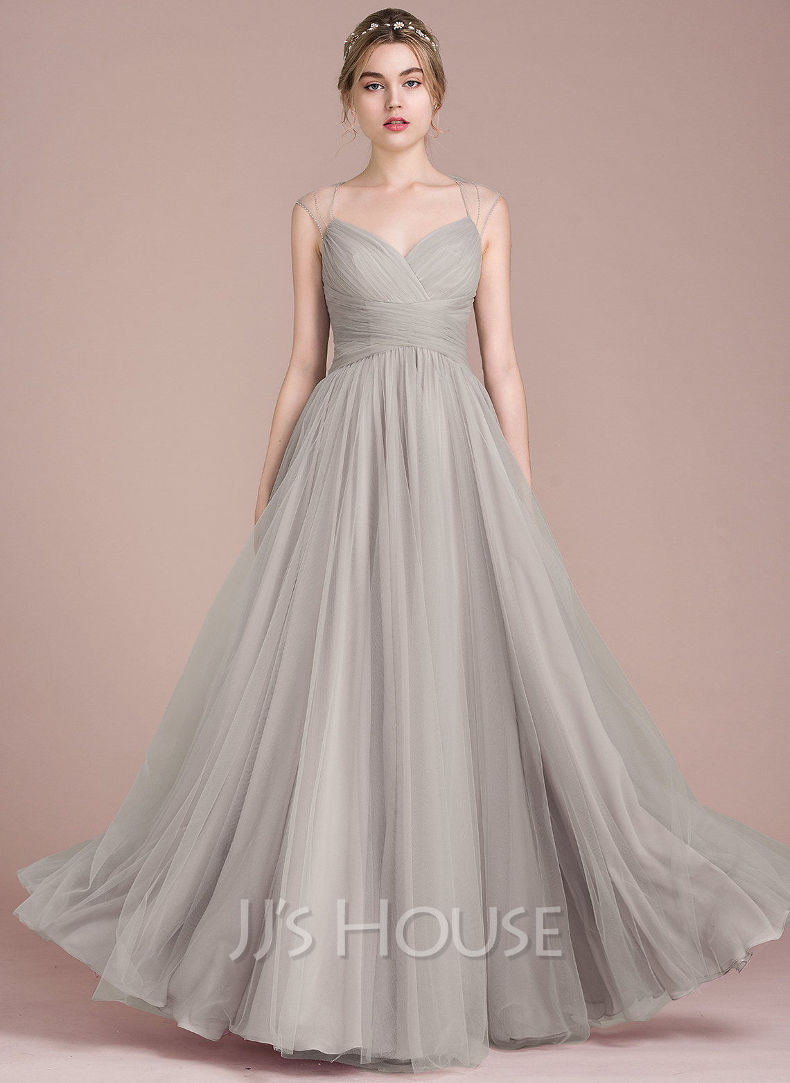 A-Line V-neck Floor-Length Tulle Prom Dresses With Ruffle Beading