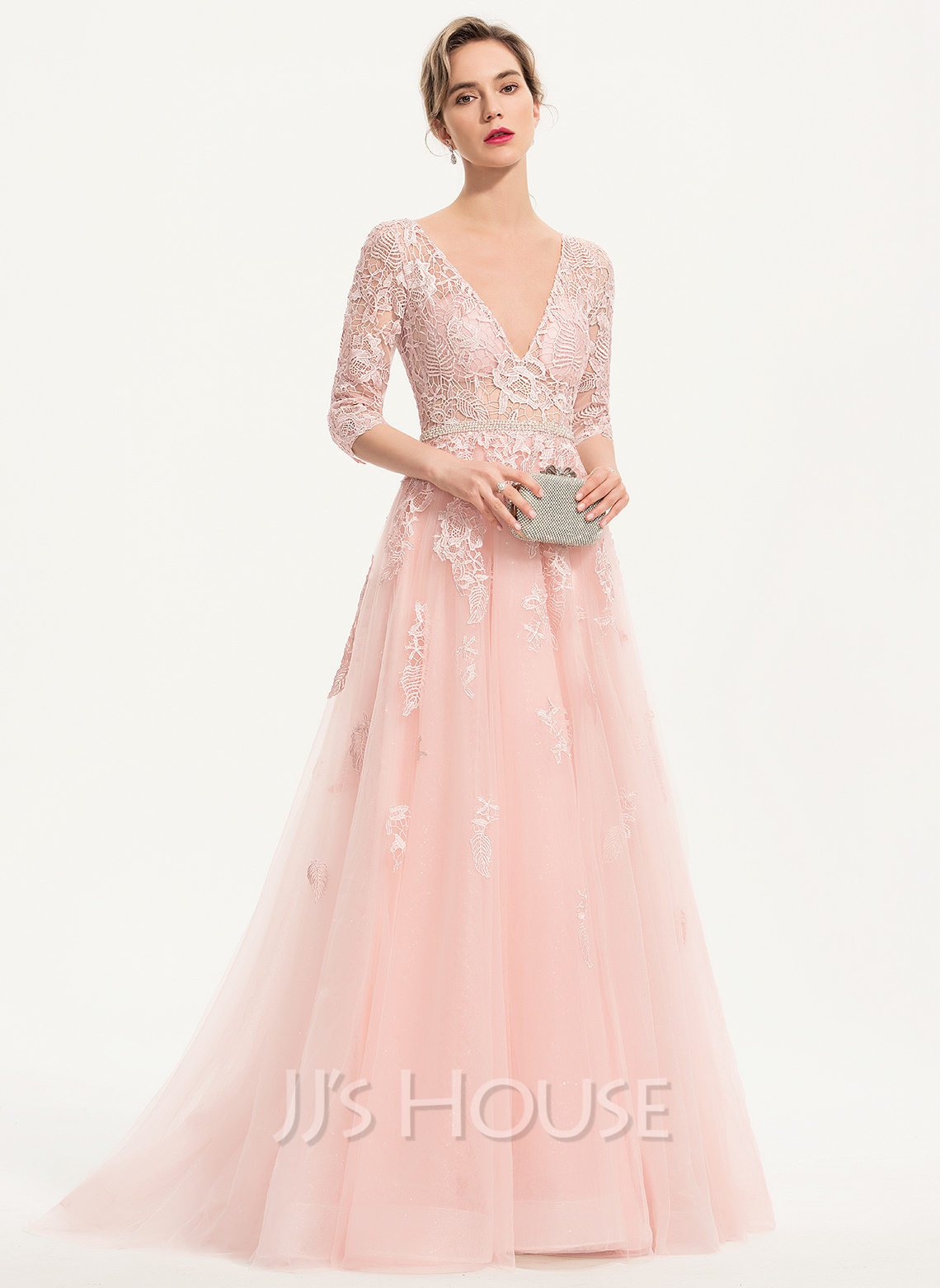 A-Line V-neck Sweep Train Tulle Prom Dresses With Beading