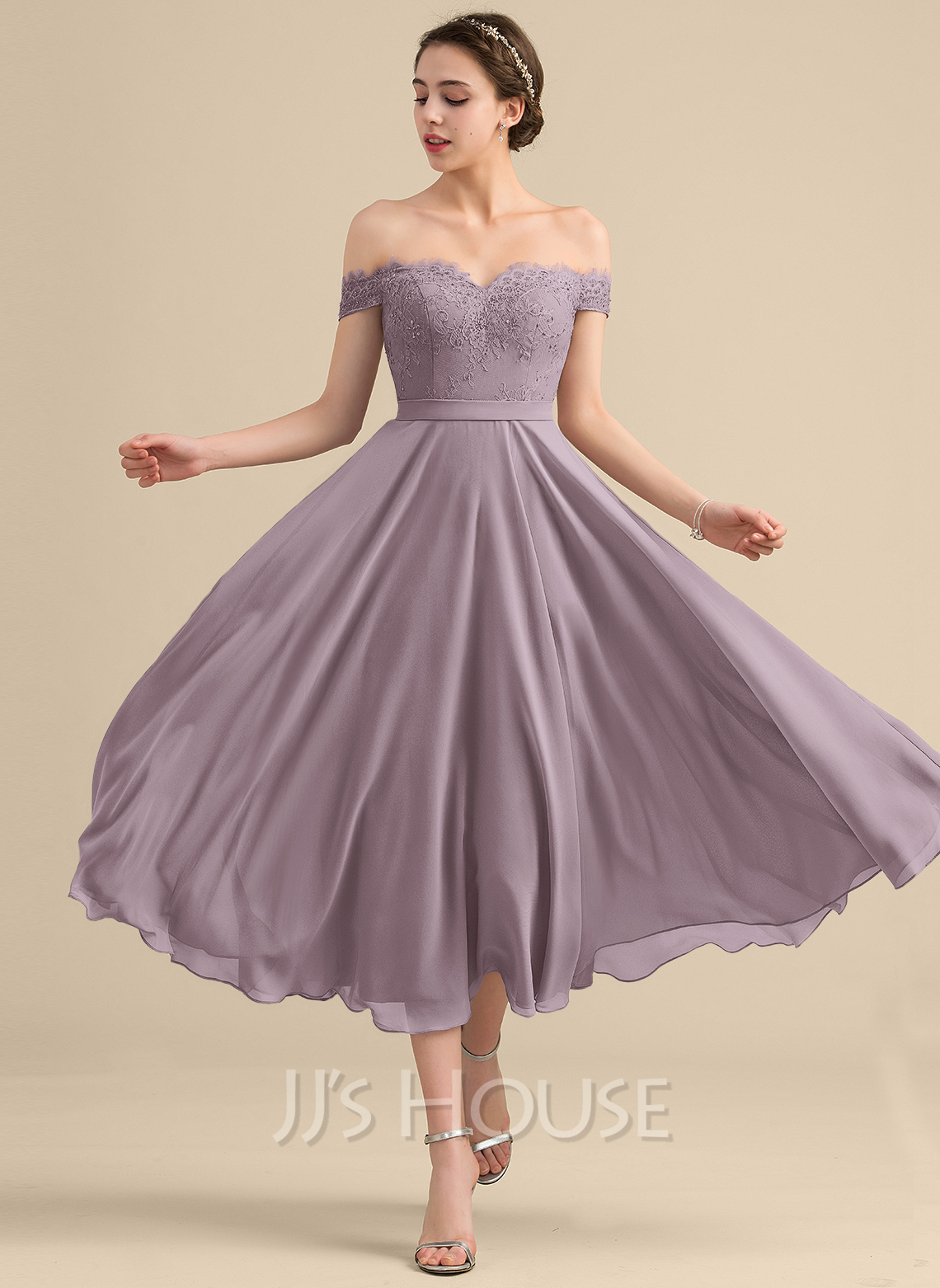 0a595d81432a A-Line/Princess Off-the-Shoulder Tea-Length Chiffon Lace Bridesmaid.  Loading zoom