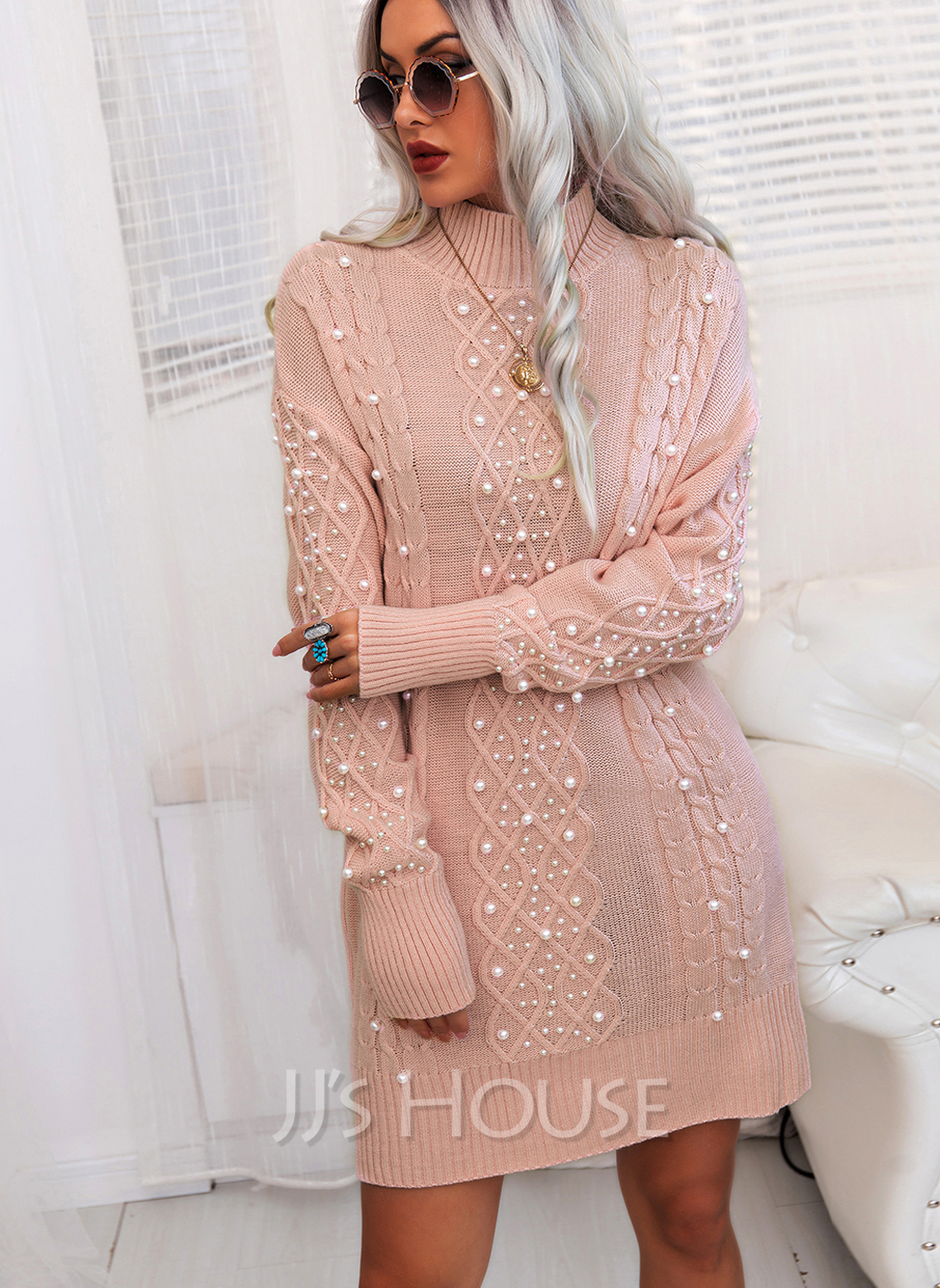 Stand collar Long Sleeves Solid Casual Long Sweater Dresses