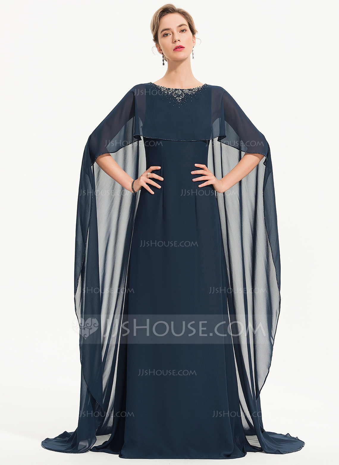 A-Line Scoop Neck Sweep Train Chiffon Evening Dress With Beading