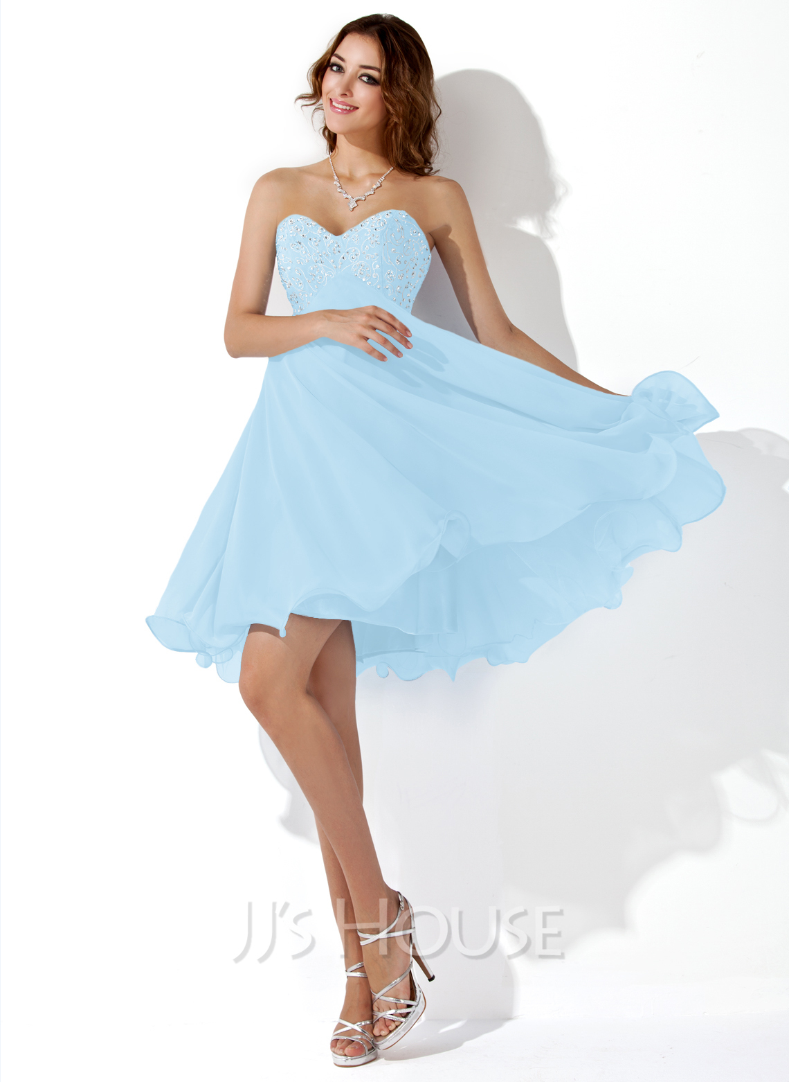2468bcae60e Empire Sweetheart Knee-Length Chiffon Homecoming Dress With Embroidered  Beading Sequins. Loading zoom