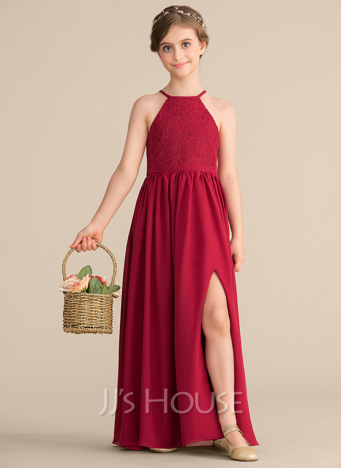 01b7c8aa07 A-Line Princess Scoop Neck Floor-Length Chiffon Lace Junior Bridesmaid Dress  With. Loading zoom