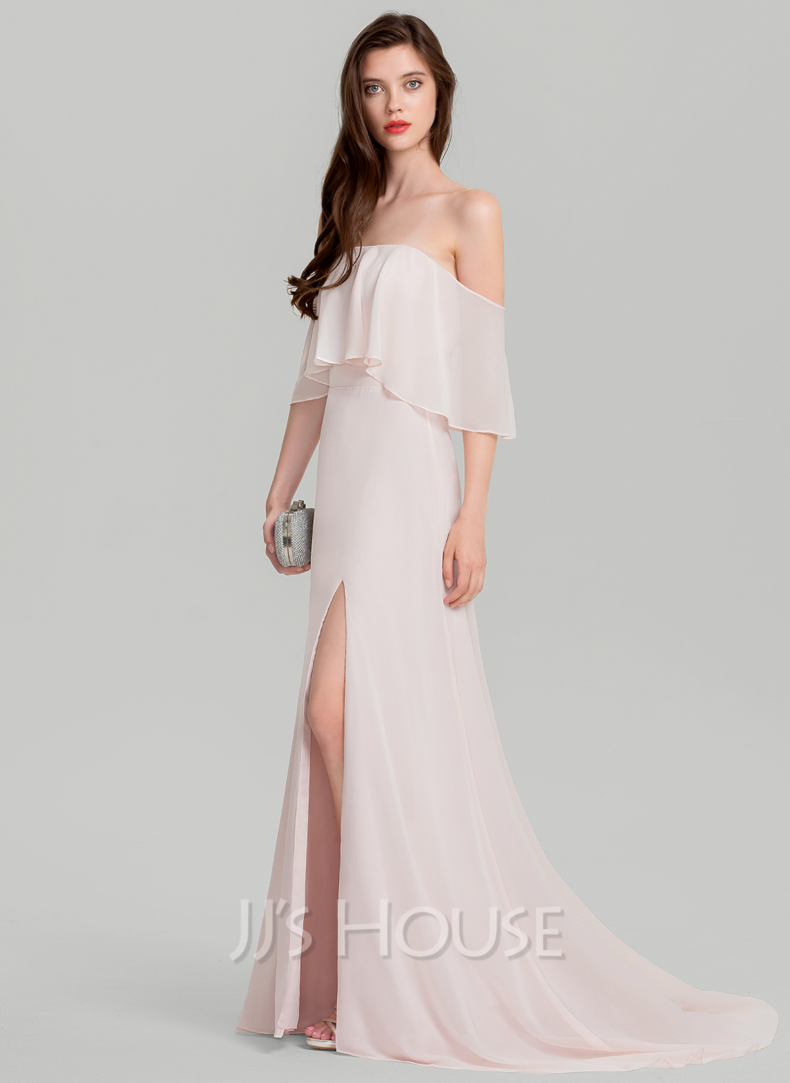 Off-the-Shoulder Sweep Train Chiffon Evening Dress With Split Front