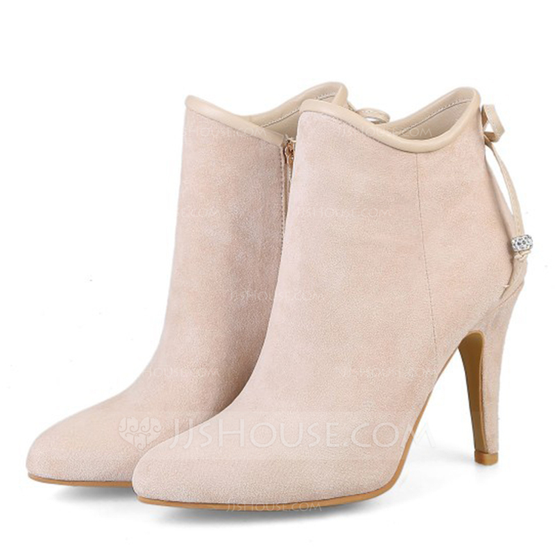 Women's Suede Spool Heel Boots Closed Toe With Zipper
