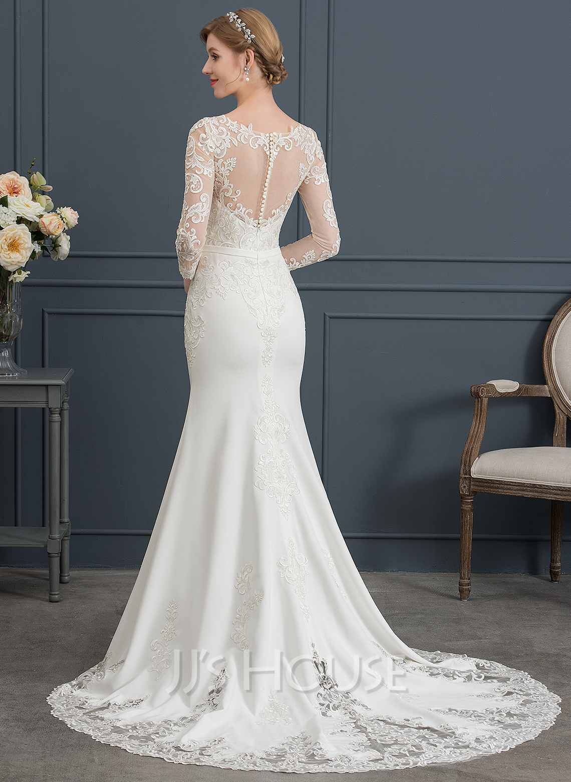 Trumpet/Mermaid Illusion Chapel Train Stretch Crepe Wedding Dress With Lace