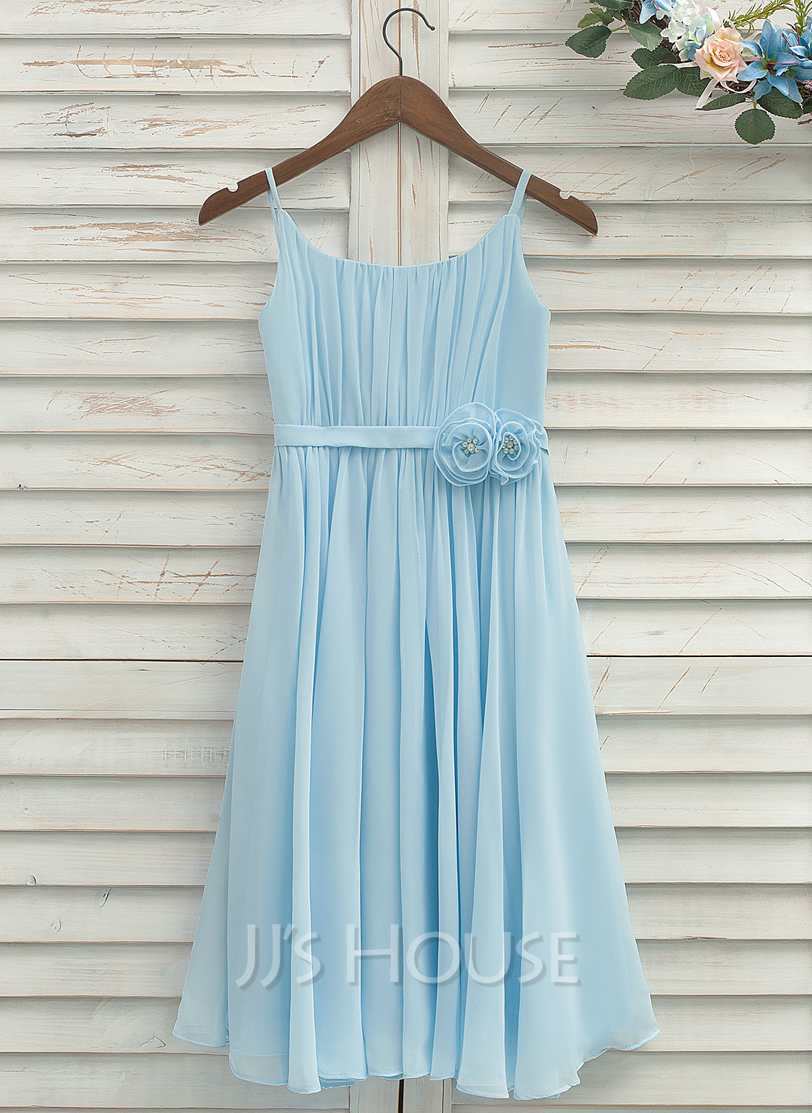 Tea-length Flower Girl Dress - Chiffon Sleeveless Straps With Pleated