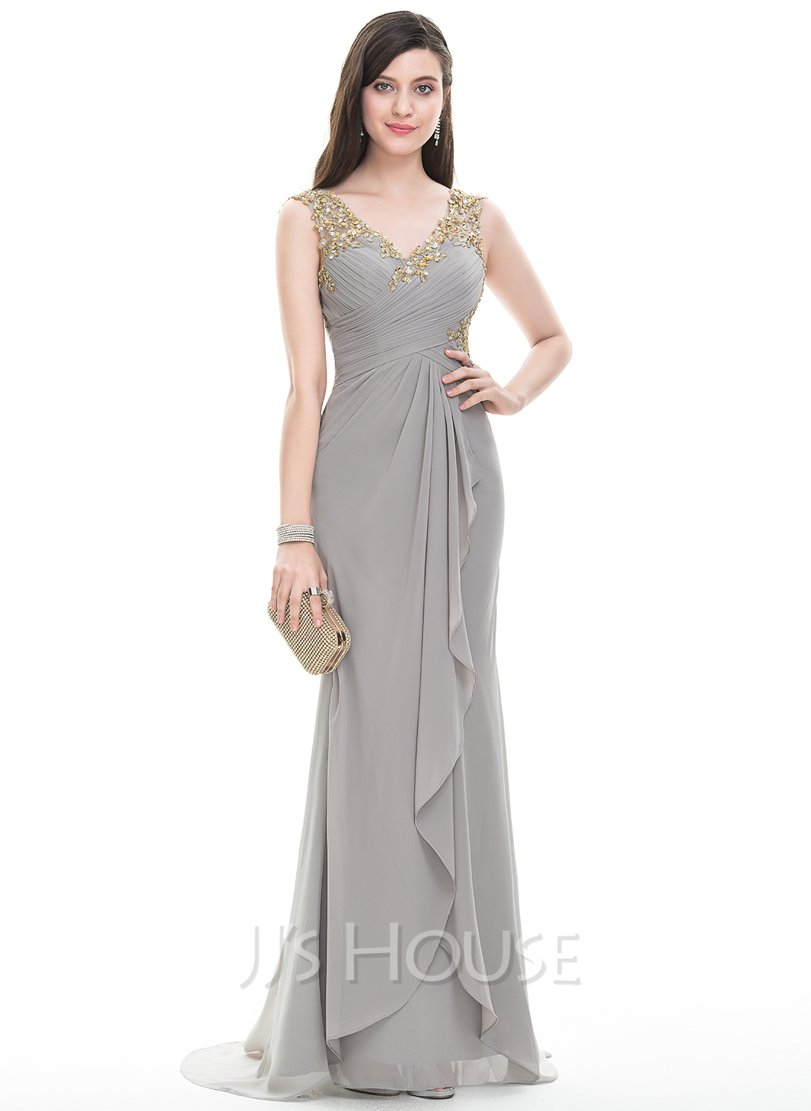445d0cfd0b9 A-Line Princess V-neck Sweep Train Chiffon Evening Dress With Ruffle  Beading. Loading zoom