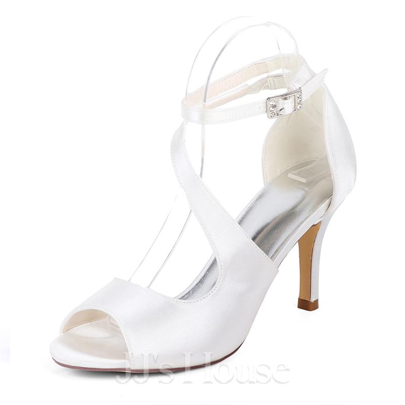 48877b15425185 Femmes Soie comme du satin Talon stiletto Escarpins Sandales avec Boucle  Élastique. Loading zoom