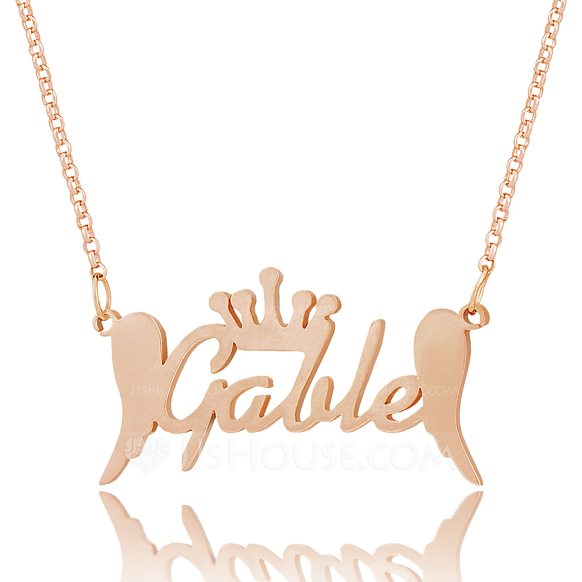Custom 18k Rose Gold Plated Silver Name Necklace With Crown Angeles - Christmas Gifts