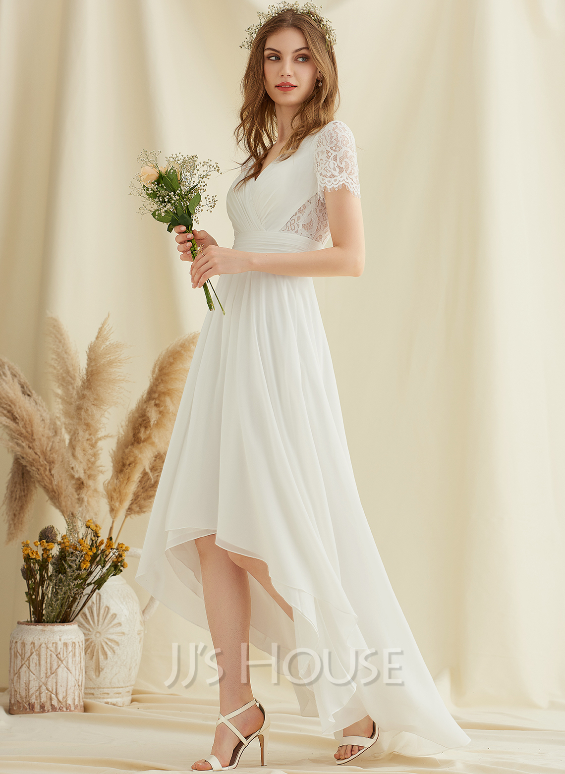 V-neck Asymmetrical Chiffon Lace Wedding Dress