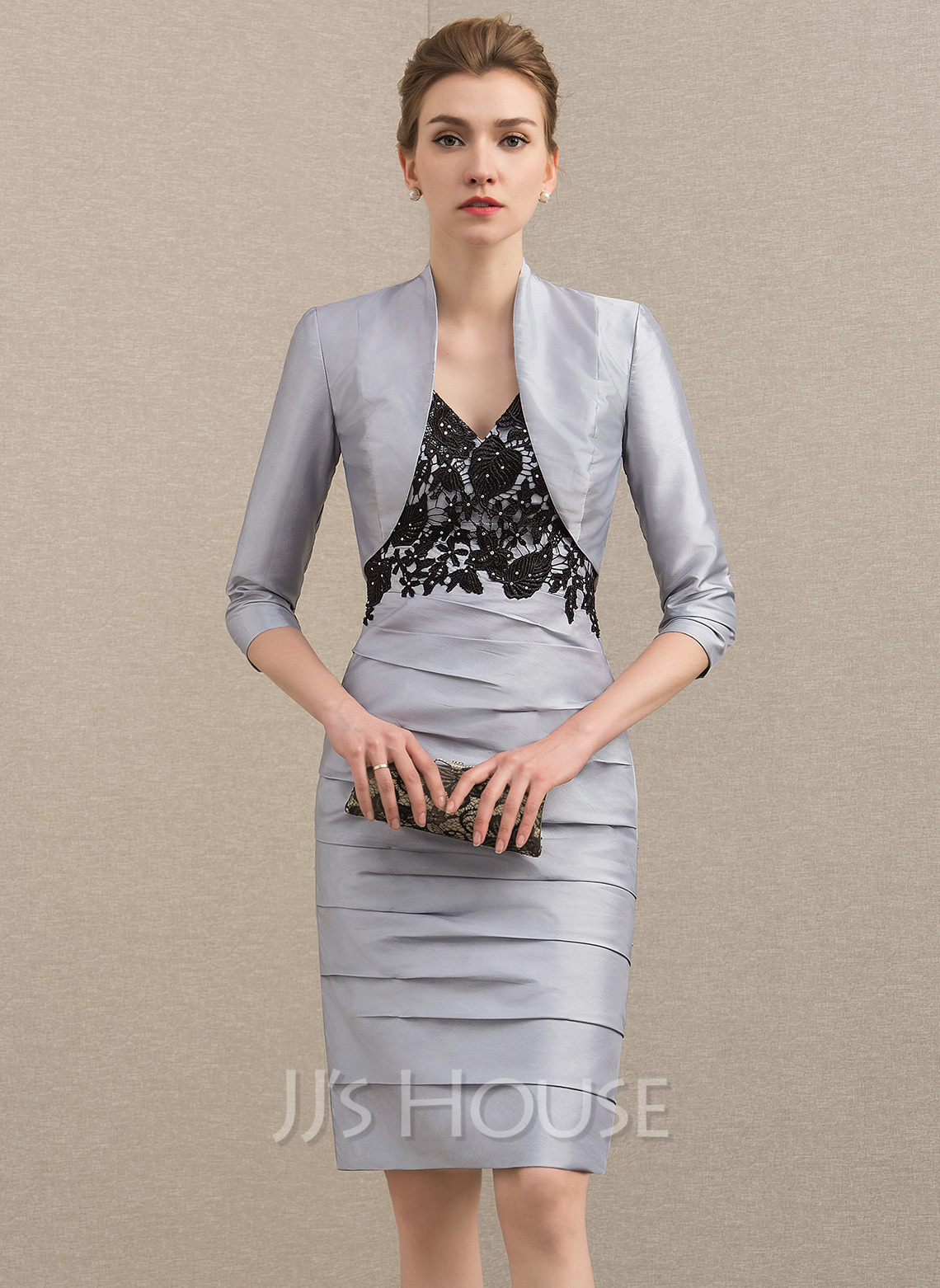 Sheath/Column V-neck Knee-Length Taffeta Mother of the Bride Dress With Lace