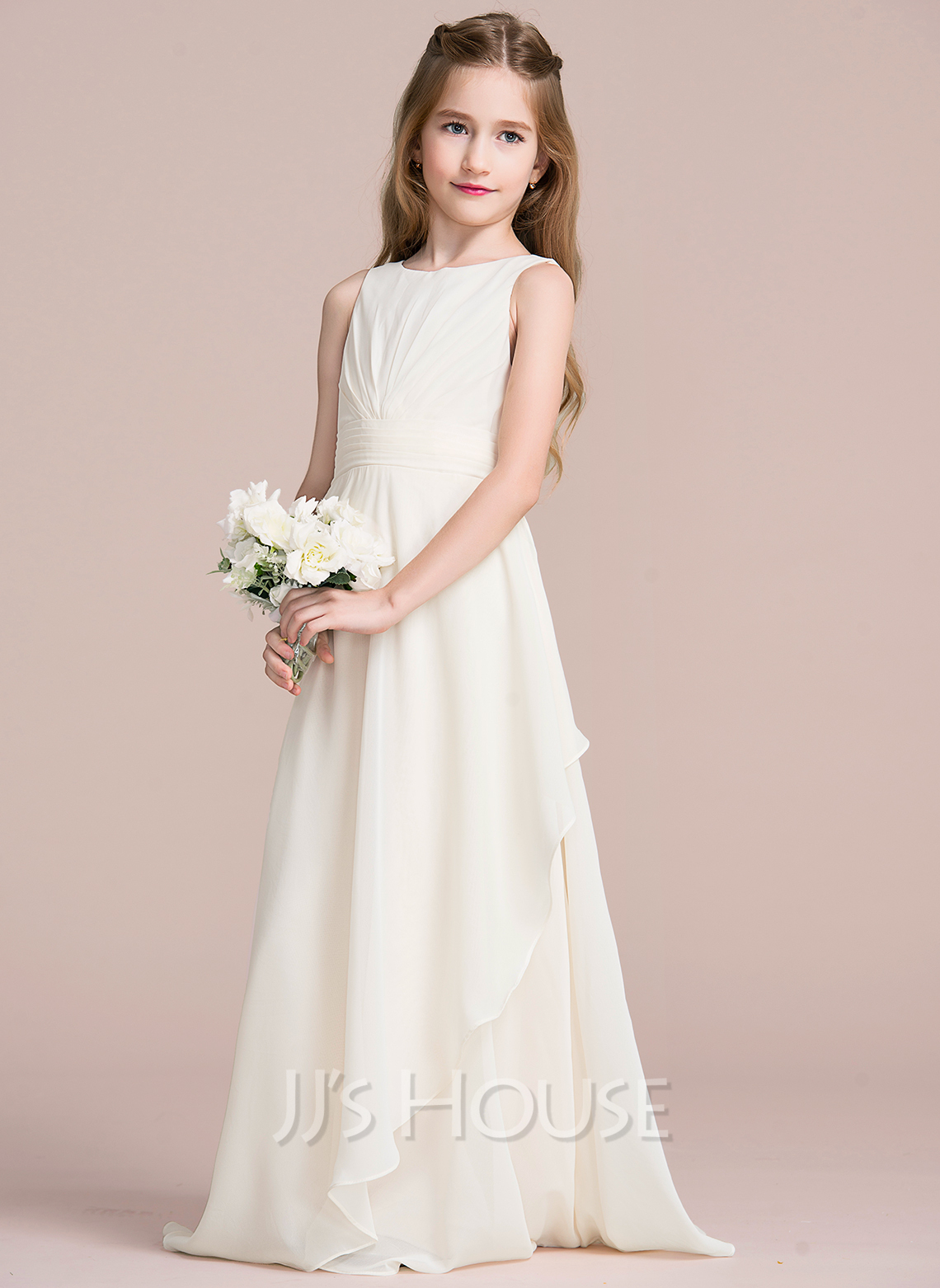 f0ed17d1c723 A-Line Scoop Neck Floor-Length Chiffon Junior Bridesmaid Dress With  Cascading Ruffles. Loading zoom