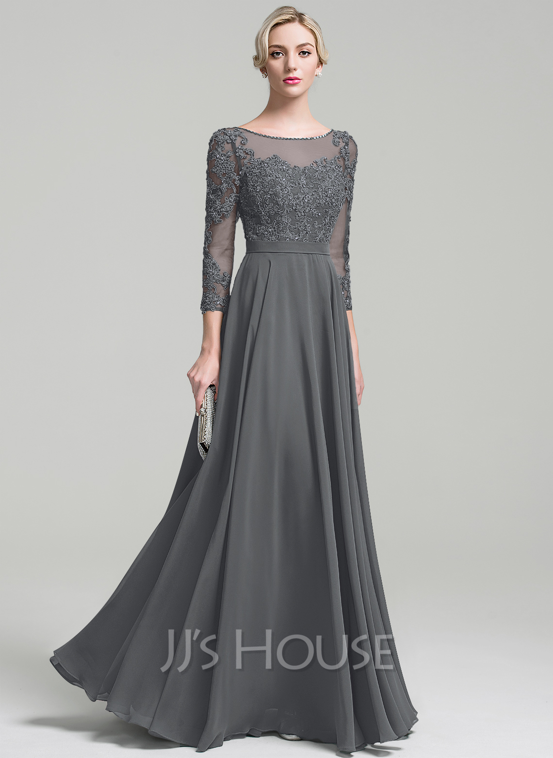 e284526b71 A-Line/Princess Scoop Neck Floor-Length Chiffon Evening Dress With Beading  Sequins. Loading zoom