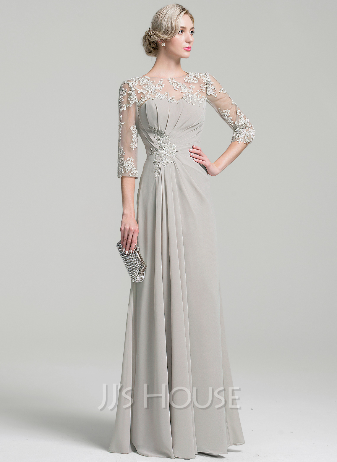 a442d93c166d39 Scoop Neck Floor-Length Chiffon Mother of the Bride Dress With Ruffle. Loading  zoom