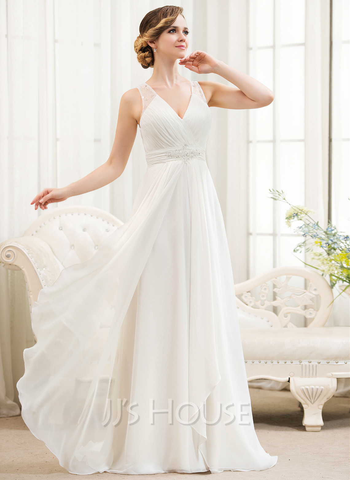 48adbccedb5d3 A-Line/Princess V-neck Sweep Train Chiffon Wedding Dress With Beading  Sequins. Loading zoom