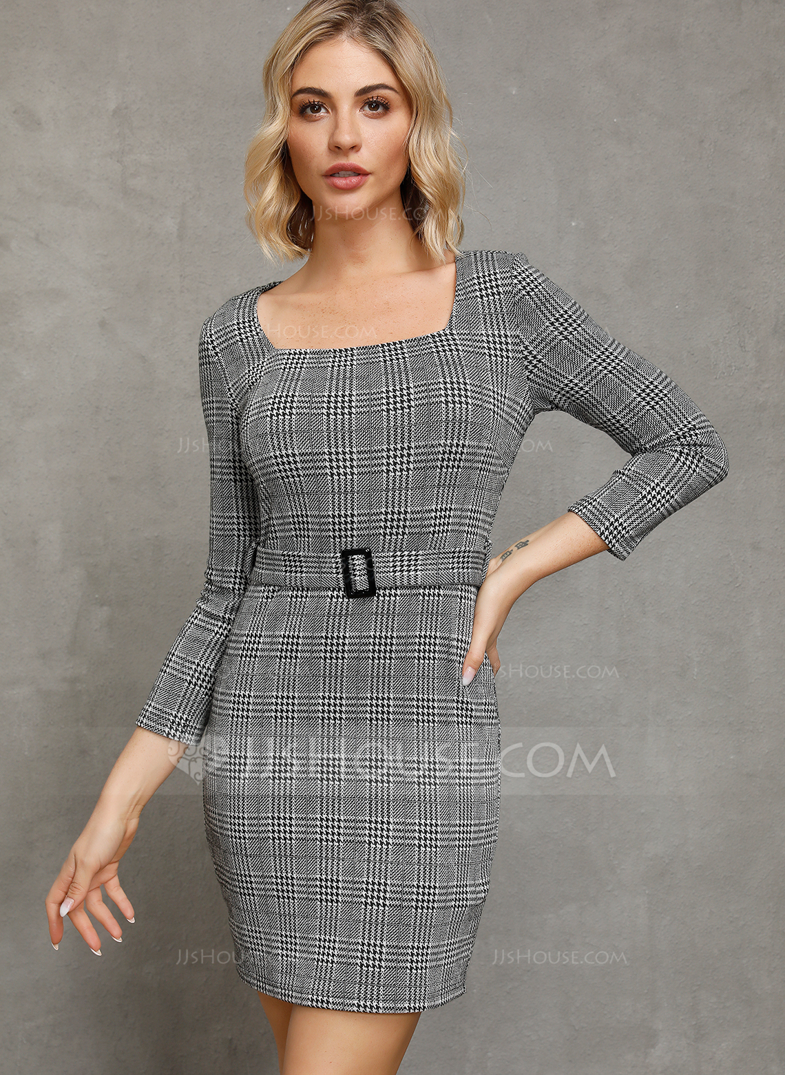 Polyester With Plaid Above Knee Dress