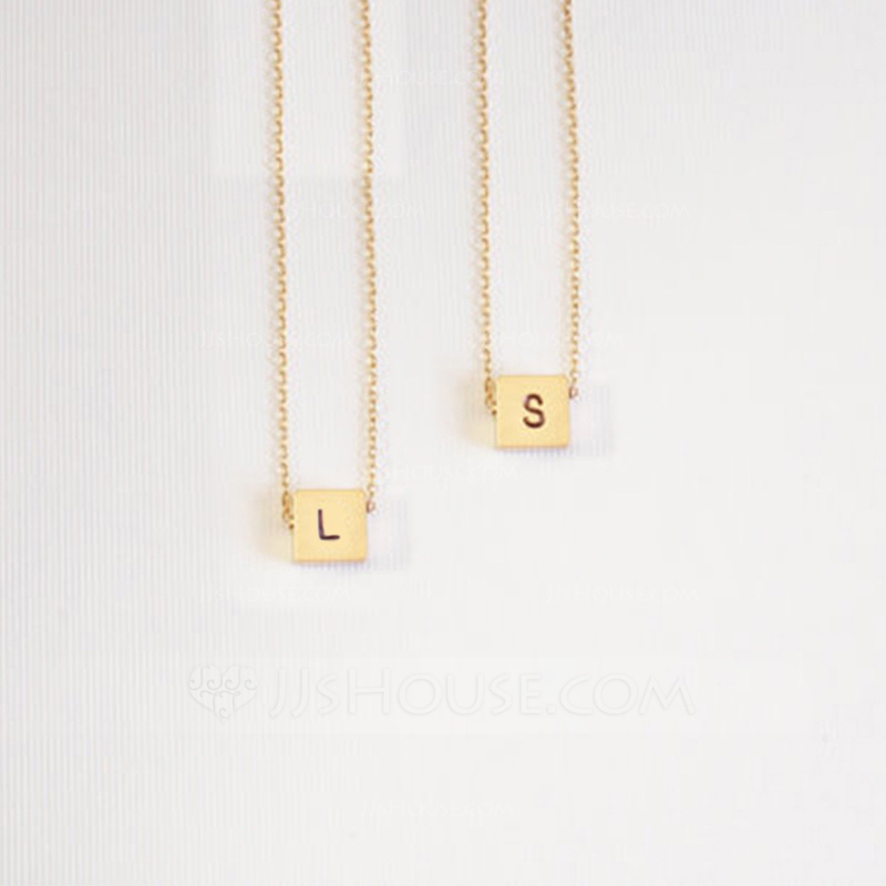 Custom 18k Gold Plated Silver Engraving/Engraved Letter Initial Necklace Engraved Necklace - Birthday Gifts Mother's Day Gifts