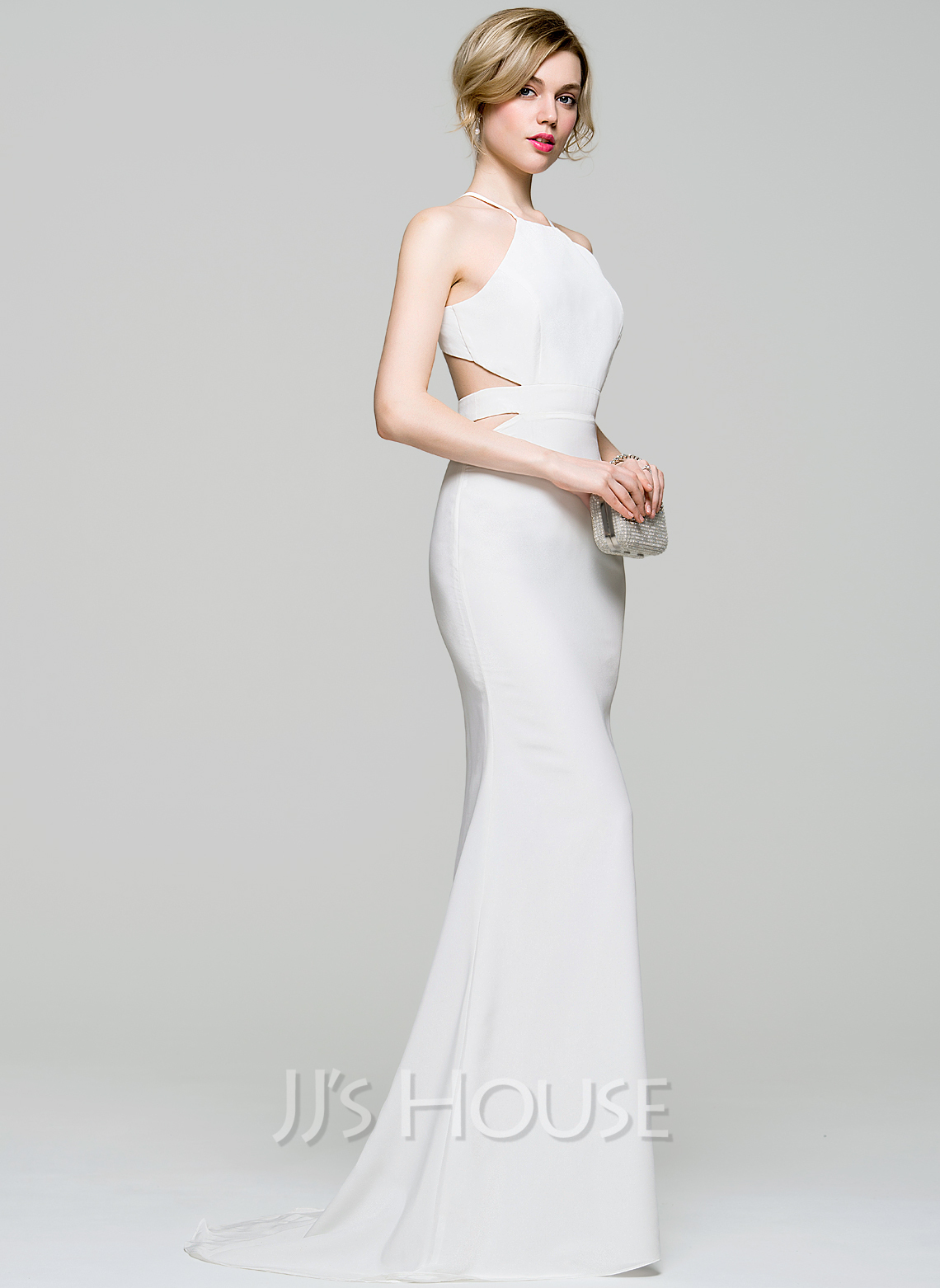 Trumpet/Mermaid Scoop Neck Sweep Train Jersey Evening Dress ...