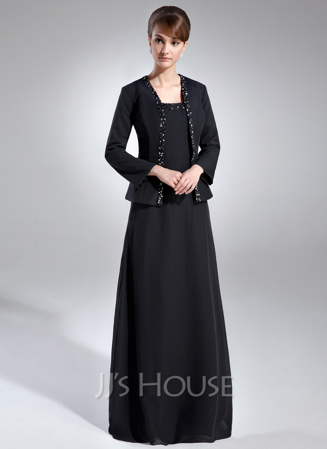 A-Line/Princess Square Neckline Floor-Length Chiffon Mother of the Bride Dress With Beading Sequins