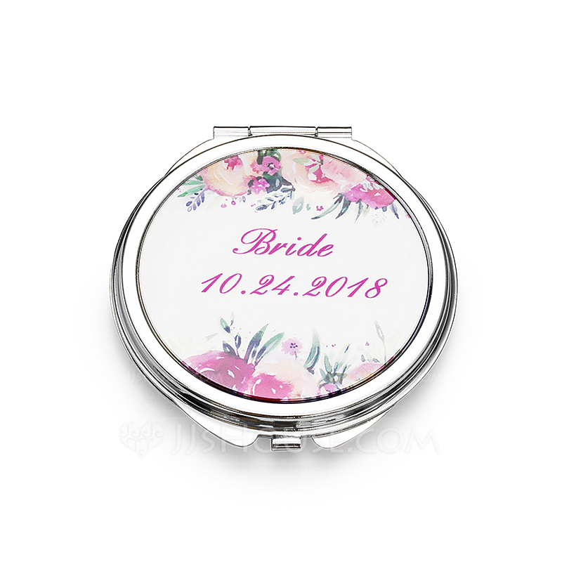 Bride Gifts - Personalized Cute Stainless Steel Compact Mirror