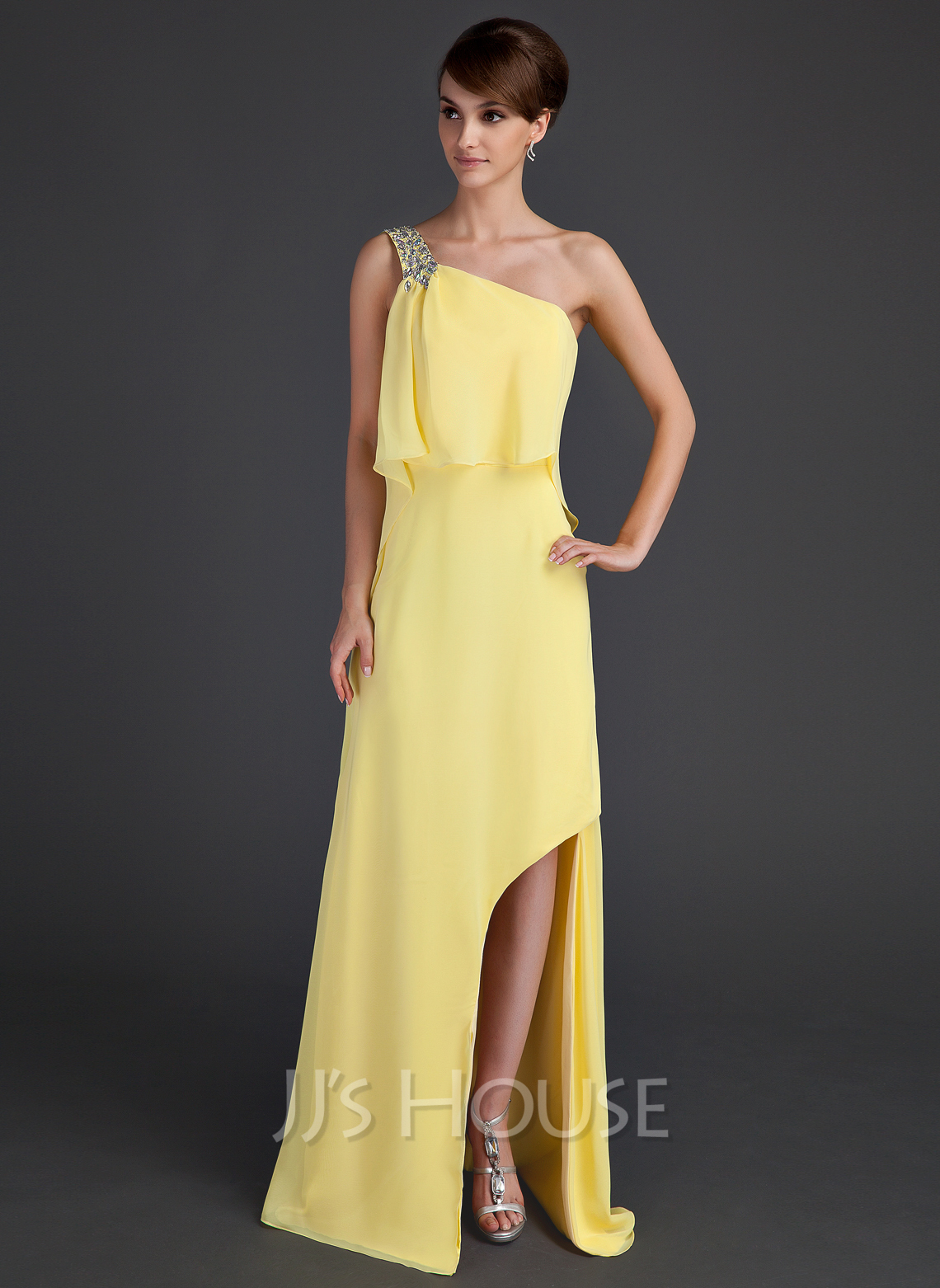 A-Line/Princess One-Shoulder Asymmetrical Chiffon Holiday Dress With Beading