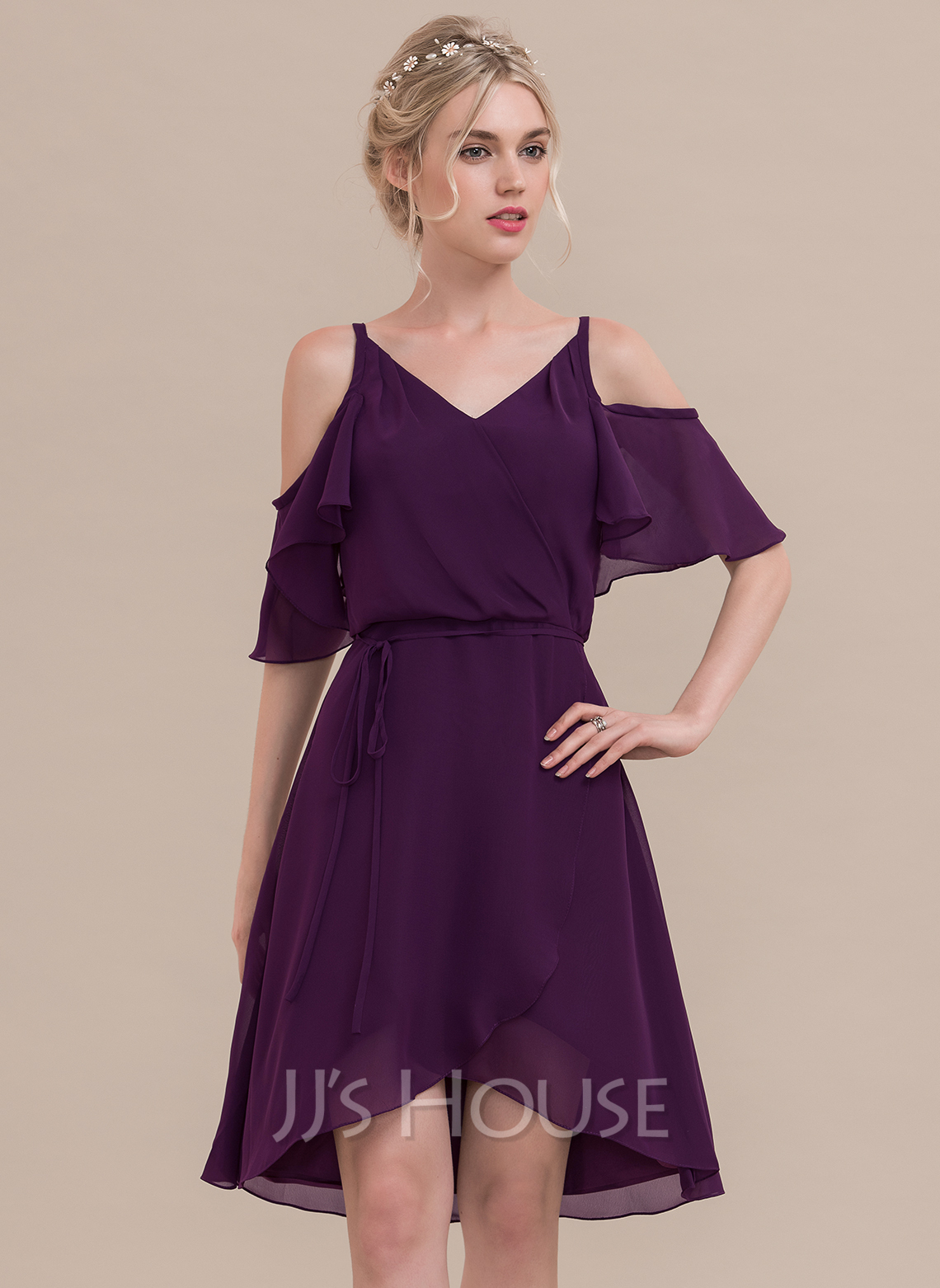 V-neck Asymmetrical Chiffon Cocktail Dress With Cascading Ruffles