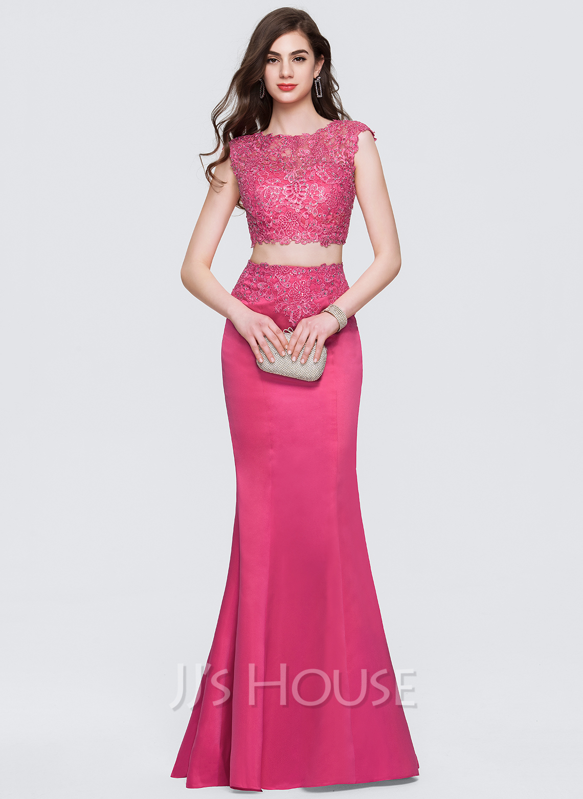 caccc86d5 Trumpet Mermaid Scoop Neck Floor-Length Satin Prom Dresses With Beading  Sequins. Loading zoom