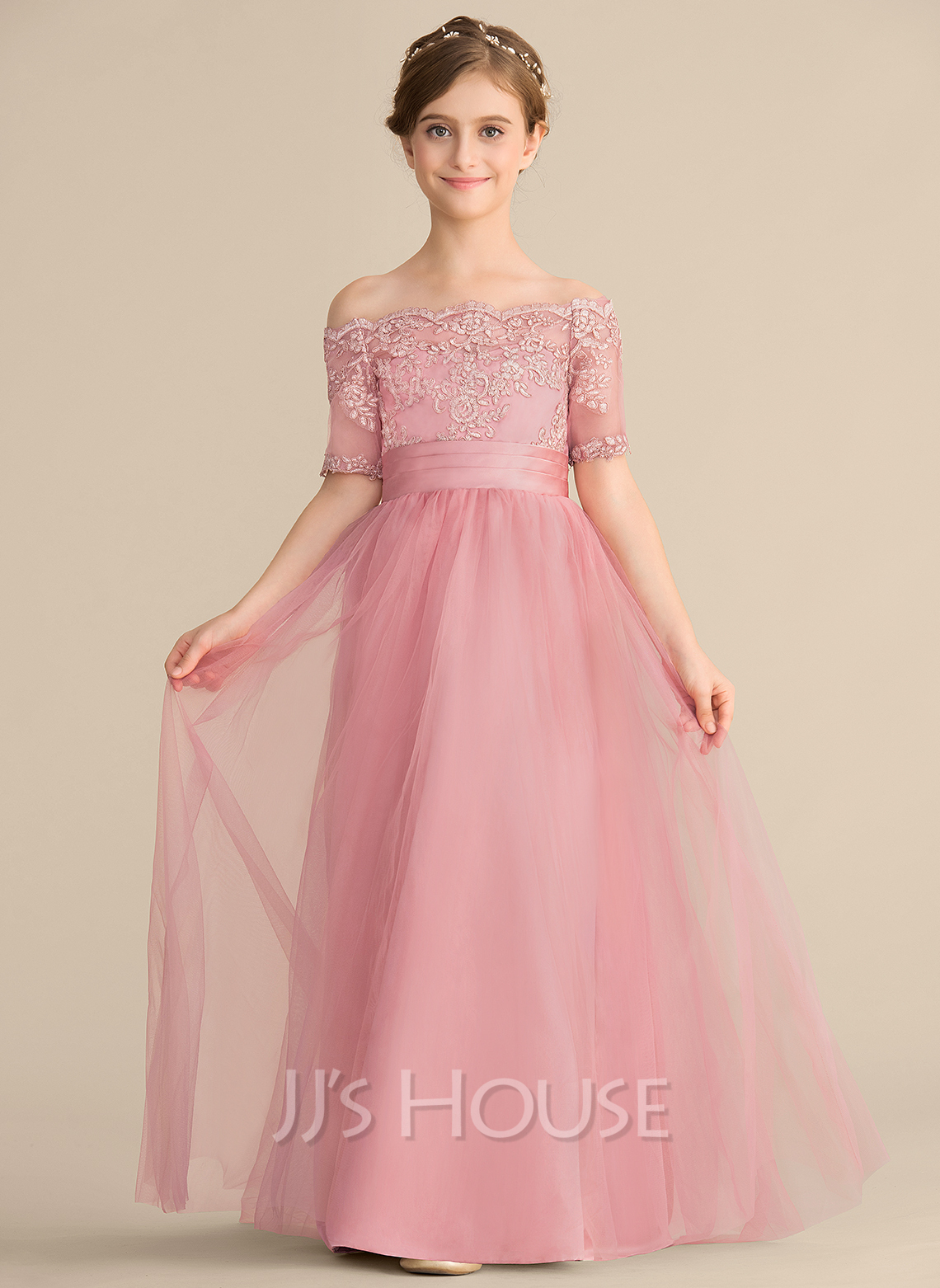 Off-the-Shoulder Floor-Length Tulle Lace Junior Bridesmaid Dress With Bow(s)