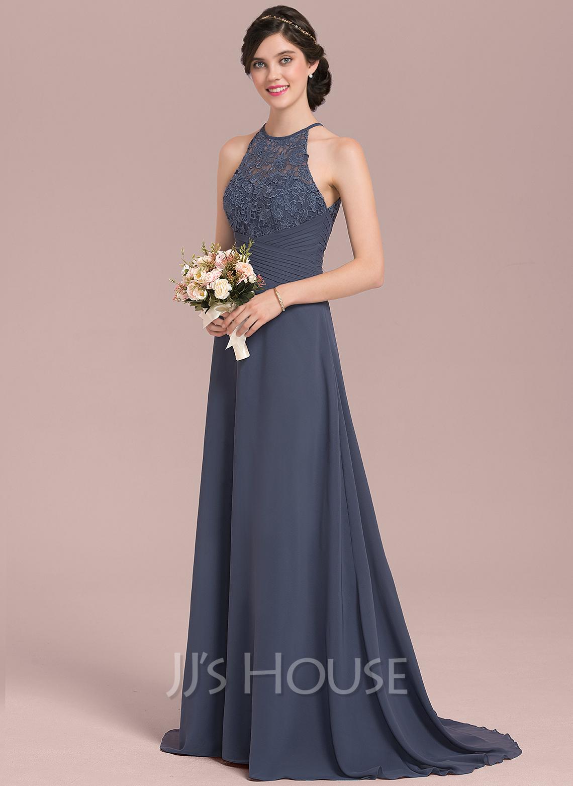 Scoop Neck Sweep Train Chiffon Lace Bridesmaid Dress With Ruffle Bow(s)