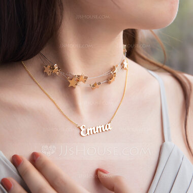 Custom 18k Gold Plated Silver Star Signature Name Necklace Choker Necklace (Set of 2) - Birthday Gifts Mother's Day Gifts