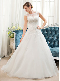 Ball-Gown/Princess Illusion Sweep Train Organza Tulle Wedding Dress With Beading Sequins