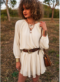 Solid A-line V-Neck Long Sleeves Midi Casual Vacation Skater Dresses