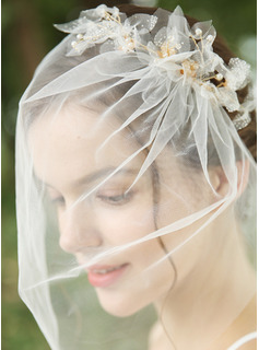 One-tier Cut Edge Birdcage Veils With Rhinestones/Faux Pearl