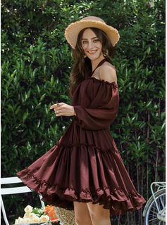 A-Line Halter Off-the-Shoulder Short/Mini Bridesmaid Dress With Ruffle
