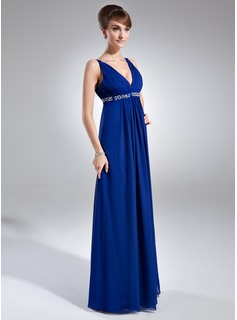 Empire V-neck Floor-Length Chiffon Holiday Dress With Ruffle Beading Sequins