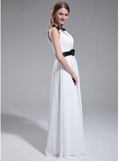 A-Line/Princess V-neck Floor-Length Chiffon Bridesmaid Dress With Ruffle Sash Flower(s)